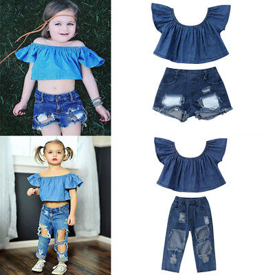Summer Kids Baby Girl Outfits Clothes Off Shoudler Tops+ Ripped Pants 2PCS Set