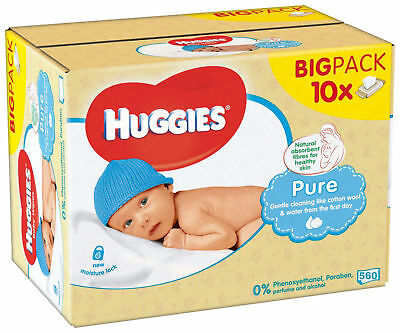 10 x HUGGIES PURE BABY WET WIPE 56 PACK ALCOHOL & FRAGRANCE FREE BULK 560 WIPES