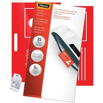 Fellowes Glossy Pouches - ID Tag punched with clip, 5 mil, 25 pk 52033