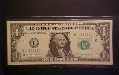 2013 $1 Federal Reserve Note - Star/low Serial Number  - B 04139850 * !-Ww553
