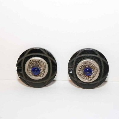 """Vintage Bakelite Buttons with Blue Glass 1 5/8"""" - Lot of 2"""