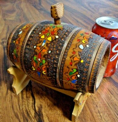 Unique S Hand Made Painted Vintage Wooden Canteen Flask KEG BARREL - Wire Banded