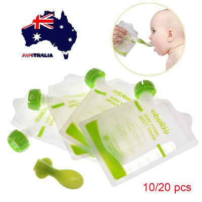 AU 10/20pcs Refillable Food Pouch Baby Feeding Squeeze Storage Sealed Zipper Bag