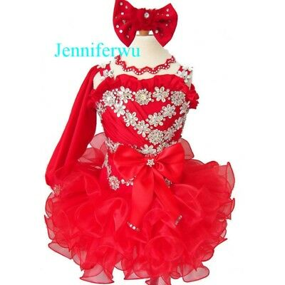 Infant//toddle//baby Stunning  Glitz Dress with detachable shoulder bow  G288