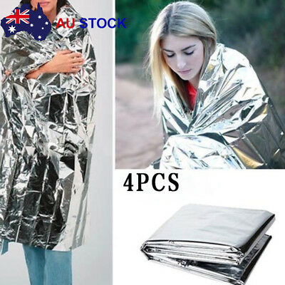 4 x Large Space Blankets Thermal Thermo Emergency Survival Camping First Aid AU