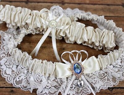 PLUS SIZE Ivory Satin And Lace Wedding Garter Set With Heart Charm US SELLER