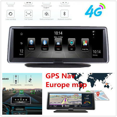 """7.84"""" Touch IPS 4G ADAS Android 5.1 Car WiFi GPS Navigation DVR Recorder DashCam"""