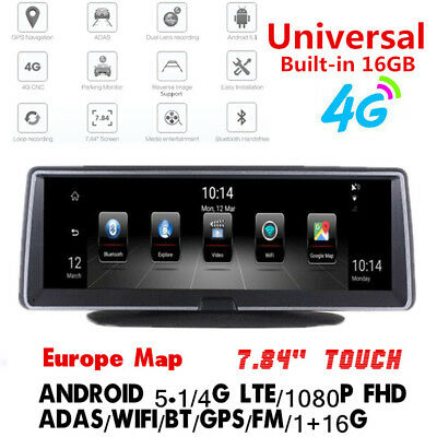 """7.84"""" Full Touch IPS 4G ADAS Android 5.1 GPS WIFI Car DVR Recorder Dash Camera"""