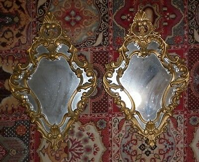 PAIR 1960s GILT FRAMED ROCCOCO  MIRRORS GOOD CONDITION