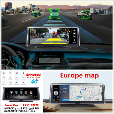 """7.84""""HD Touch IPS 4G ADAS Android 5.1 Car DVR Video Recorder WIFI GPS Europe Map"""