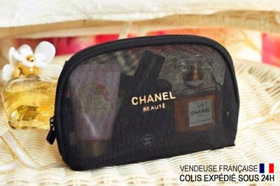 Trousse toilette pochette maquillage make up Chanel Beaute Mesh VIP Noir Or neuf