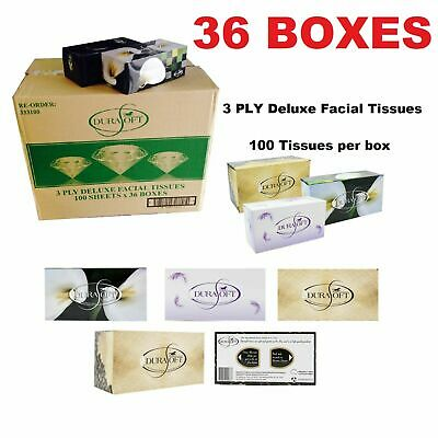36 X Durasoft 3 Ply Deluxe Soft White Facial Tissues Box 100 Sheets Bulk Boxes