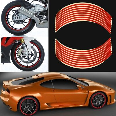 """Motorbike Car Reflective Wheel Rim Trim Tape Sticker Up to 18"""" Red Pack of 16"""