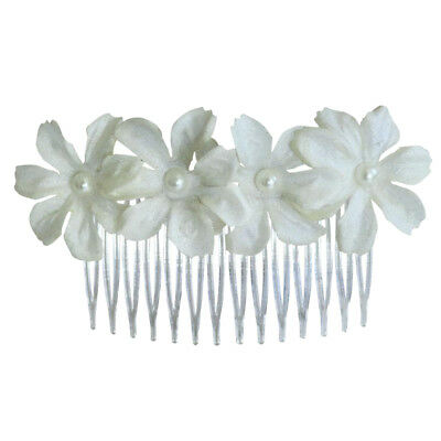 Hair Comb with White Silk Flower Clips for Party Banquet Bridal Hair Costume
