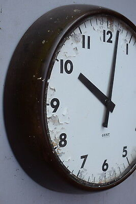 "Vintage Industrial 1940s Gent of Leicester 12"" Bakelite Wall Clock old reclaimed"