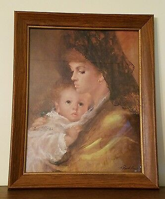 Vintage Painting By A. FENTI PINI Signed Large Art Print Mother Child Wood Frame