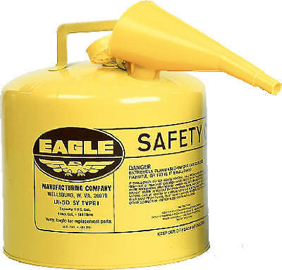 EAGLE MFG CO - Safety Diesel Gas Can, Yellow Type I, 5-Gal.