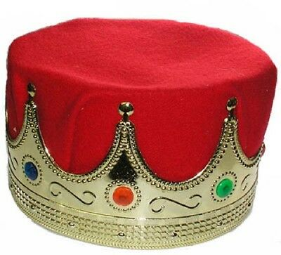 Kings Crown Adult Medieval Renaissance Deluxe Red Gold Plastic Royal Costume Hat