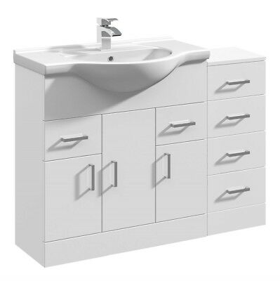 1050mm High Gloss White Bathroom Vanity Basin Sink Cabinet & Drawer Furniture