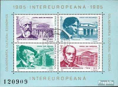 Romania block212 (complete issue) used 1985 INTEREUROPA