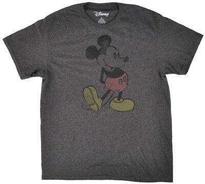 Disney Mickey Mouse Steamboat T-Shirt Mens Disneyland Heather Charcoal