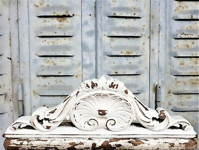 Shabby Painted White Pediment Antique French Hand Carved Wood Shell Carving