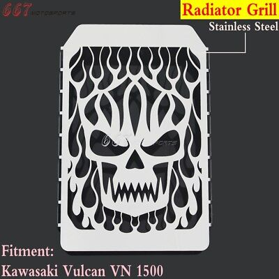 Motorcycle Skull Radiator Grille Cover Water Cooler For Kawasaki Vulcan VN 1500
