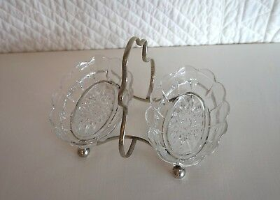 Vintage 2 Glass Dishes Jam Cream EPNS Silver Plated Handled  Devonshire High Tea