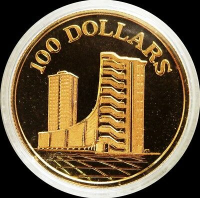 1975 Gold Singapore Gem Proof $100 Dollar 10Th Anniversary Capsule Coin