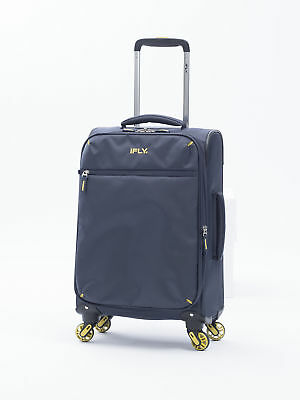 Soft Sided Carry On Luggage Glider Rolling Suit Case Travel Bag 20 In Navy Blue