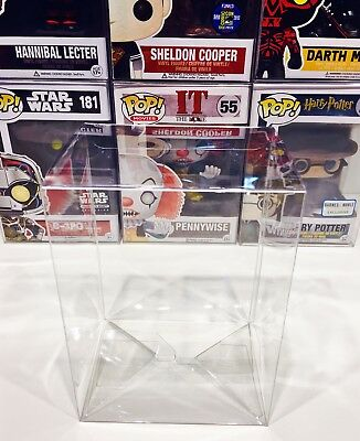 "9 FUNKO POP!  4"" Box Protectors! Acid Free Crystal Clear Cases For Vinyl Figures"
