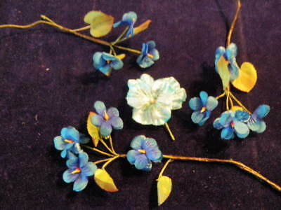 "Vtg Millinery Flower Collection 1-1 1/2"" Blue Violet Pansy Doll Size Germa H2139"