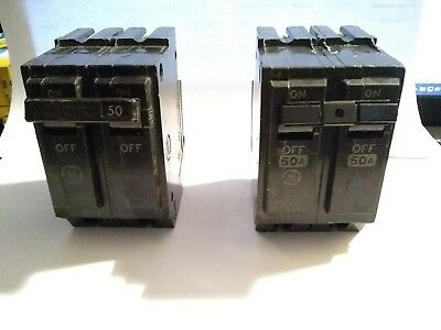 Lot Of 2  General Electric  Thql2150  2 Pole , 50 Amp Circuit Breakers