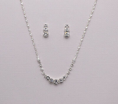Bridal Wedding Rhinestone Crystal Bridesmaids Earrings and Necklace Jewelry Set