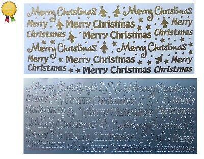 MERRY CHRISTMAS Peel Off Stickers Stars Trees Card Making Gold or Silver