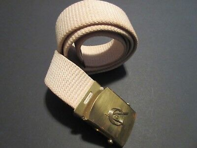 Vintage 1960's Boy Scout Ivory Belt with Explorer Emblem Brass Buckle