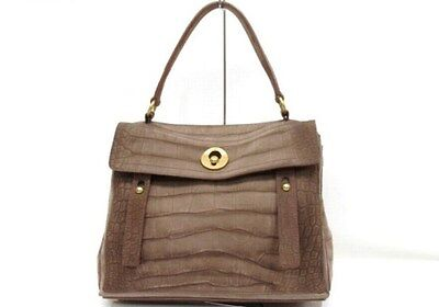 a17e0b83f46f AUTHENTIC YSL YVES SAINT LAURENT Muse Two Nubuck x Suede Hand Bag Brown  197149