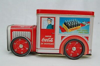 Coca Cola Coke Red Delivery Truck Tin Box Canister Turning Wheels Removable Lids