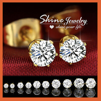 9K YELLOW GOLD FILLED Round STUD SIMULATED DIAMOND CT SOLID MENS WOMENS EARRING