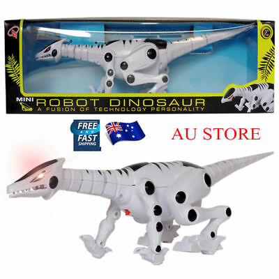 AU Electric Robot Dinosaur Toy Growling Flashing Toy Gift with Music Sound Light