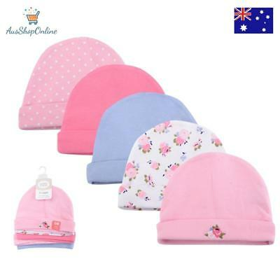 Lovable Friends 5 Pc /lot Baby Girl Hat 100% Cotton Cap Beanie 0-6 months old