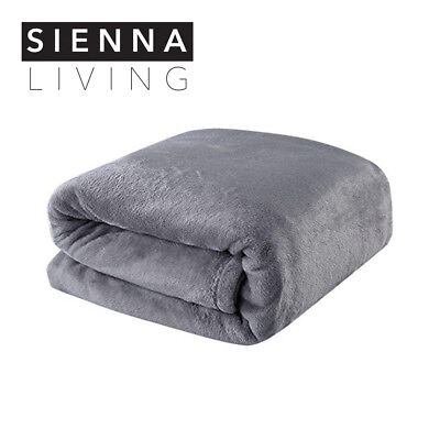 BRAND NEW Thick Warm 350GSM Flannel Grey Blanket Queen/King Size 220x240cm