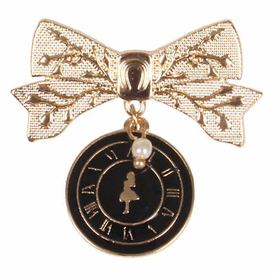 New arrive Alice in Wonderland Girl Brooch Badge Pins Bowknot Clock Jewelry Gift