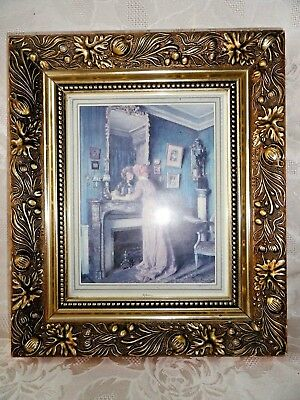 "Vintage Printed  Picture in Frame ""REFLECTIONS"" 23.5 x 18.5 cm."
