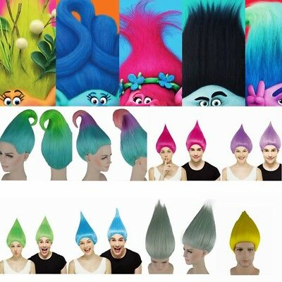 AU Kids/Adult Trolls Poppy Colorful Wigs Disney Cosplay Crazy Party Fancy Wigs