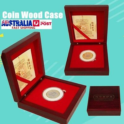 Single Coin Display Box Wood Case Wooden Storage Holder Capsule Adjustable Pad