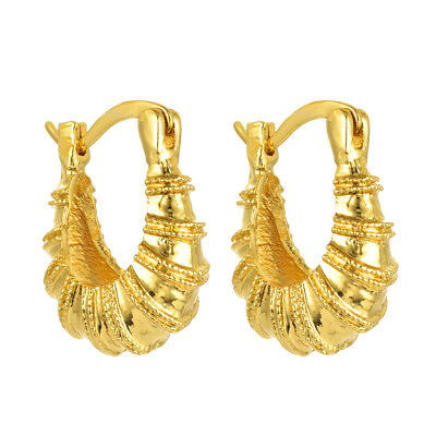 Women 18K Gold Silver Plated Carved Small Hoop Earrings Jewelry Wedding