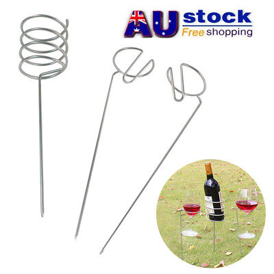 AU Outdoor Wine Bottle & Cup Holder Support Stand Set for Camping Lawn Picnic