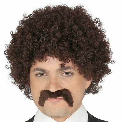 Adult 80s 118 Scouser Curly Wig Tash Facial Hair Fancy Dress Accessory New