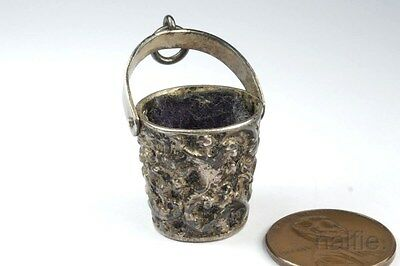 ANTIQUE ENGLISH LATE VICTORIAN SILVER BUCKET SHAPED THIMBLE HOLDER c1896